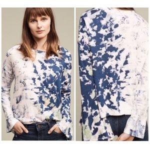 Anthropologie Akemi + Kin Blue Graffiti Top Sz L